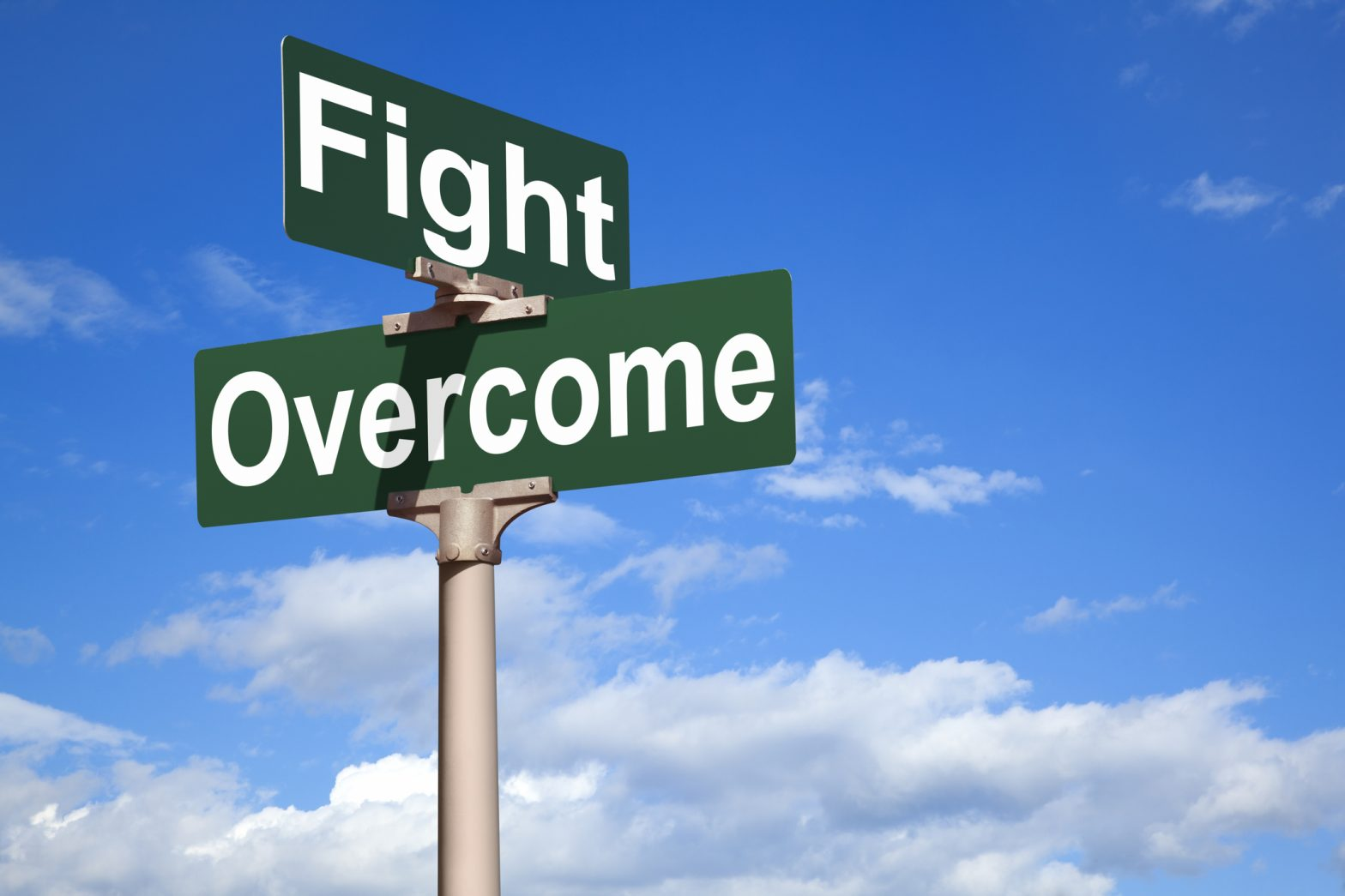 Fight Overcome Street Sign
